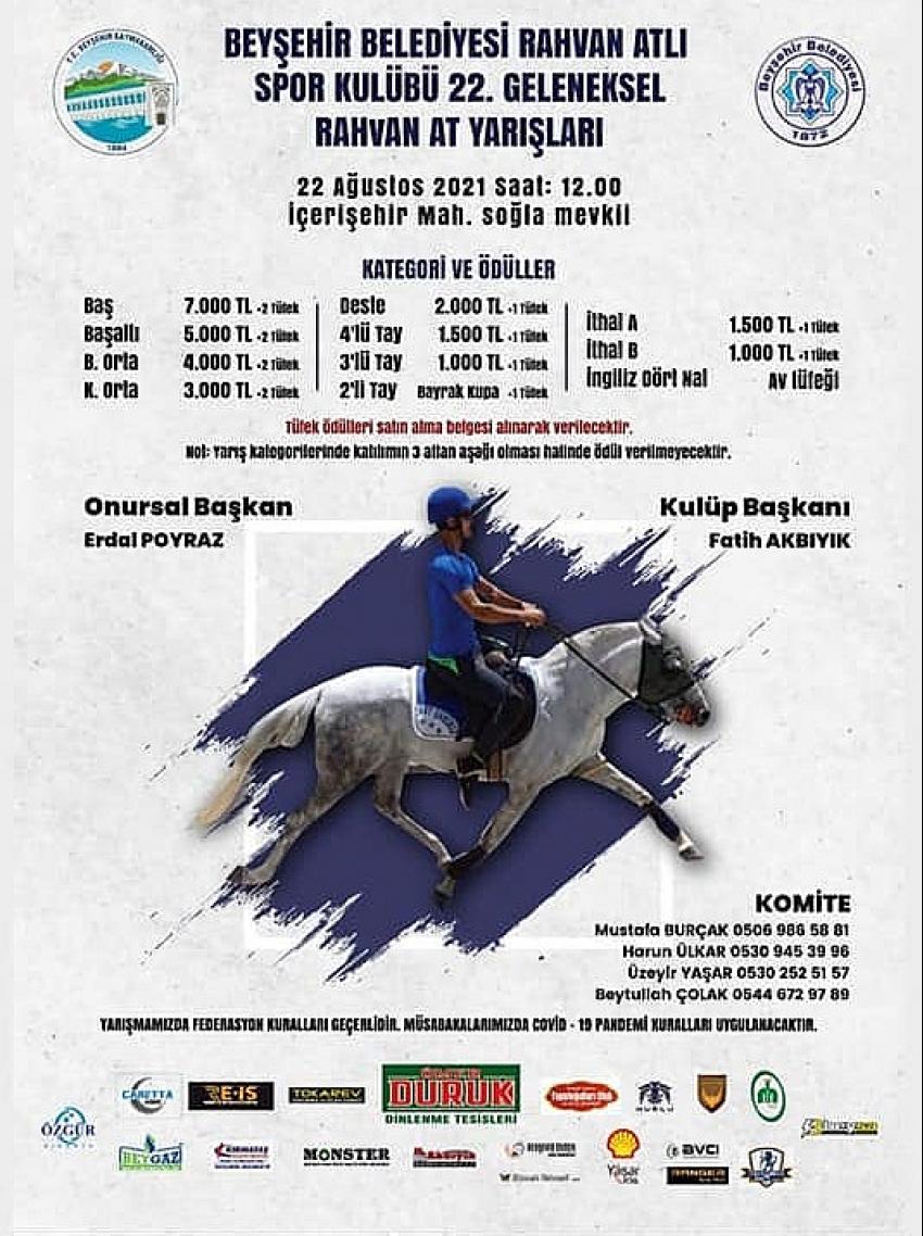 Beyşehir'de Rahvan At Yarışları Heyecanı Yaşanacak